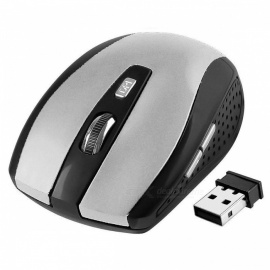 Centechia 2.4GHz Wireless Optical Mouse with USB 2.0 Receiver for PC Laptop - Black + Grey