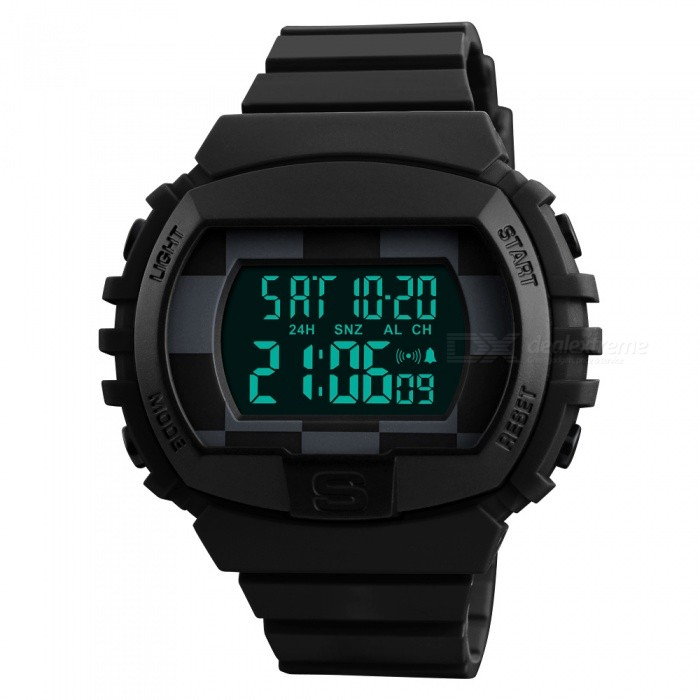 SKMEI 1304 50m Waterproof Mens Digital Sports Watch With Dual Time - BlackSport Watches<br>Form  ColorBlackModel1304Quantity1 pieceShade Of ColorBlackCasing MaterialABS+PUWristband MaterialPUSuitable forAdultsGenderMenStyleWrist WatchTypeSports watchesDisplayDigitalBacklightGreen lightMovementDigitalDisplay Format12/24 hour time formatWater ResistantWater Resistant 5 ATM or 50 m. Suitable for swimming, white water rafting, non-snorkeling water related work, and fishing.Dial Diameter5.2 cmDial Thickness1.4 cmWristband Length24 cmBand Width2.1 cmBattery1 x CR2032Packing List1 x Watch<br>