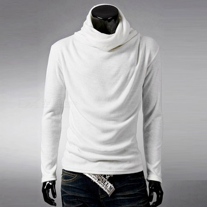 Men's Stylish Casual Slim Long Sleeves Heaps Collar Cotton T-shirt Tee - White (M)