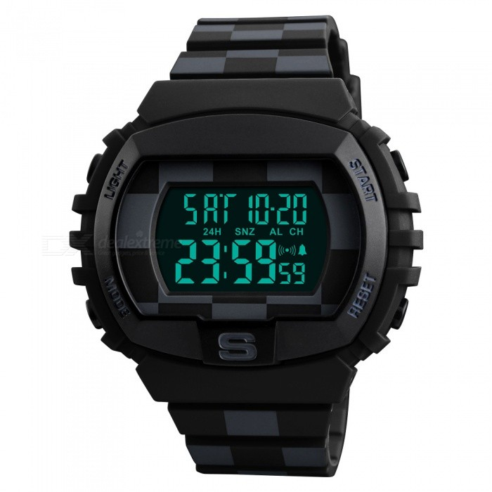 SKMEI Grid Band 1304 50M Waterproof Mens Digital Sports Watch with Dual Time / Date Display / EL Light - BlackSport Watches<br>Form  ColorGrid Band/Black Model1304Quantity1 pieceShade Of ColorBlackCasing MaterialABS + PUWristband MaterialPUSuitable forAdultsGenderMenStyleWrist WatchTypeSports watchesDisplayDigitalBacklightGreen lightMovementDigitalDisplay Format12/24 hour time formatWater ResistantWater Resistant 5 ATM or 50 m. Suitable for swimming, white water rafting, non-snorkeling water related work, and fishing.Dial Diameter5.2 cmDial Thickness1.4 cmWristband Length24 cmBand Width2.1 cmBattery1 x CR2032Packing List1 x Watch<br>