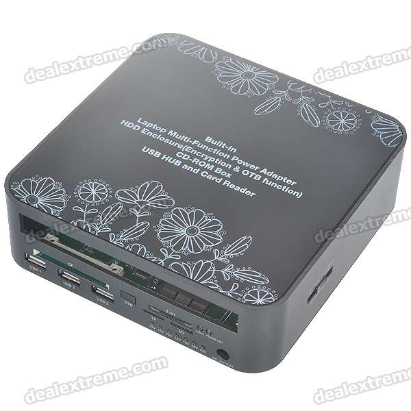 Multi-Function HDD/DVD Docking Box with USB Hub/Card Reader/Laptop Power Adapters