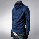 Stylish Men's Casual Slim Long-sleeved T-shirt Blouse - Blue (XXL)