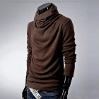 Men's Stylish Casual Slim Long Sleeves Heaps Collar Cotton T-shirt Tee - Brown (M)