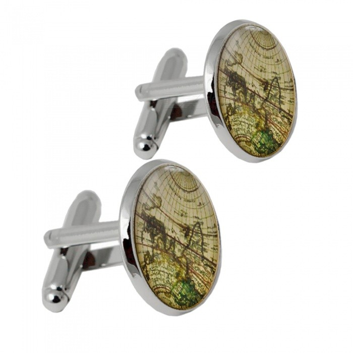 006 Alloy World Map Pattern Men's Cufflinks - Silver + Multicolor (1 Pair)
