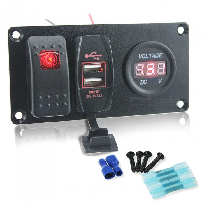 IZTOSS S1942-Z DIY Switch Panel Combination Red Switch + USB Car Charger + Digital Voltmeter for Car / Trailer / Yacht (12~24V)Car Switches<br>Form  ColorRed + BlackModelS1942-ZQuantity1 DX.PCM.Model.AttributeModel.UnitMaterialMetal + plasticIndicator LightYesRate Voltage12-24VRated Current3.1 DX.PCM.Model.AttributeModel.UnitOther FeaturesInstallation dimensions: 95x40mm; <br>Input voltage: DC 12-24V; <br>Maximum power: 240W; <br>Working temperature: 25~80C; <br>Waterproof: IP66; <br>Certificate: CE; <br>Materials: ABS, nylon, aluminum plate high temperature, flame retardant environmental protection material; <br>USB charger: 5V 3.1A DC; <br>Rocker switch: red indicator light; <br>Product accessories: Jumper wire, 4 x screws, 2 x Insulation terminals, 4 x thermal shrink wire coil terminals.CertificationCEPacking List1 x Switch Panel<br>
