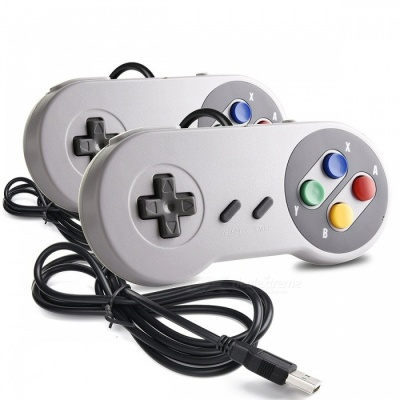 Kitbon Wired USB Game Controller, Klassieke Super SNES SFC Console Gamepad (2 PCS)