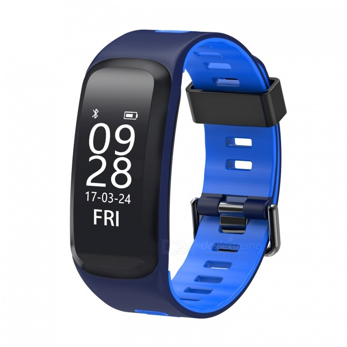 No.1 F4 IP68 Waterproof Smart Bracelet with Blood Pressure Heart Rate Monitor - BlueSmart Bracelets<br>Form  ColorBlack + BlueModelF4Quantity1 DX.PCM.Model.AttributeModel.UnitMaterialSilicone + PC CaseShade Of ColorBlueWater-proofIP68Bluetooth VersionBluetooth V4.0Touch Screen TypeOthers,OLEDOperating SystemNoCompatible OSAndroid, IOSBattery Capacity130 DX.PCM.Model.AttributeModel.UnitBattery TypeLi-polymer batteryStandby Time15 DX.PCM.Model.AttributeModel.UnitCertificationCE, RohsOther FeaturesSupport Basketball mode, badminton mode, mountaineering mode,  swimming  mode,  running mode, riding mode, table tennis mode,  Football mode;<br>Support Blood Pressure Monitor, Heart Rate Monitor, Blood Oxygen Monitor, Sleep Monitor, Pedometer, Remote cameraPacking List1 x F4 Smart Bracelet1 x User Manual (Chinese/English)1 x Charger Cable<br>