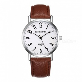 KINGNUOS Men's PU Leather Band Quartz Wrist Watch - Brown + White
