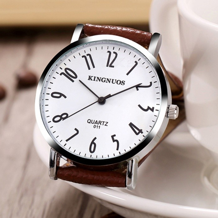 Kingnuos men 39 s pu leather band quartz wrist watch brown white free shipping dealextreme for Kingnuos watch