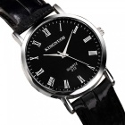 KINGNUOS Roman Numerals Men's Quartz Watch with PU Leather Strap - Black + Silver