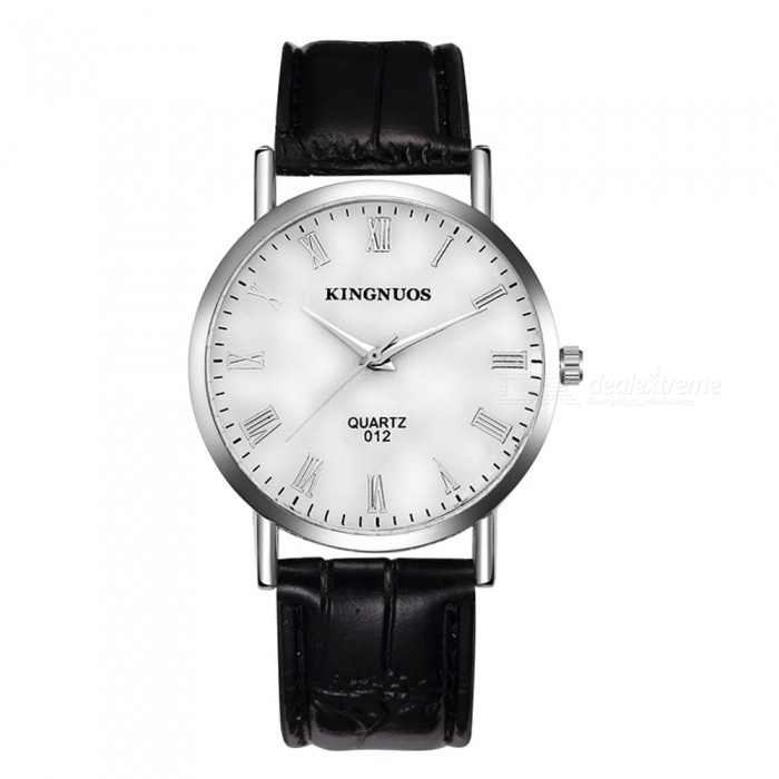 KINGNUOS Roman Numerals Mens Quartz Watch with PU Leather Strap - Black + WhiteQuartz Watches<br>Form  ColorBlack + WhiteQuantity1 pieceShade Of ColorBlackCasing MaterialZinc alloyWristband MaterialPUSuitable forAdultsGenderMenStyleWrist WatchTypeFashion watchesDisplayAnalogBacklightNoMovementQuartzDisplay Format12 hour formatWater ResistantWater Resistant 3 ATM or 30 m. Suitable for everyday use. Splash/rain resistant. Not suitable for showering, bathing, swimming, snorkelling, water related work and fishing.Dial Diameter3.8 cmDial Thickness0.7 cmWristband Length23 cmBand Width2 cmBattery1 * SR626Packing List1 x Quartz Watch<br>