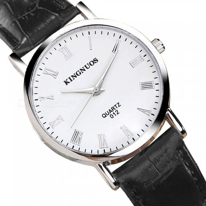 Kingnuos roman numerals men 39 s quartz watch with pu leather strap black white free shipping for Kingnuos watch