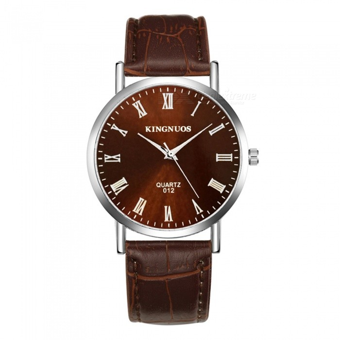 kingnuos roman numerals men 39 s quartz watch with pu leather strap brown silver free