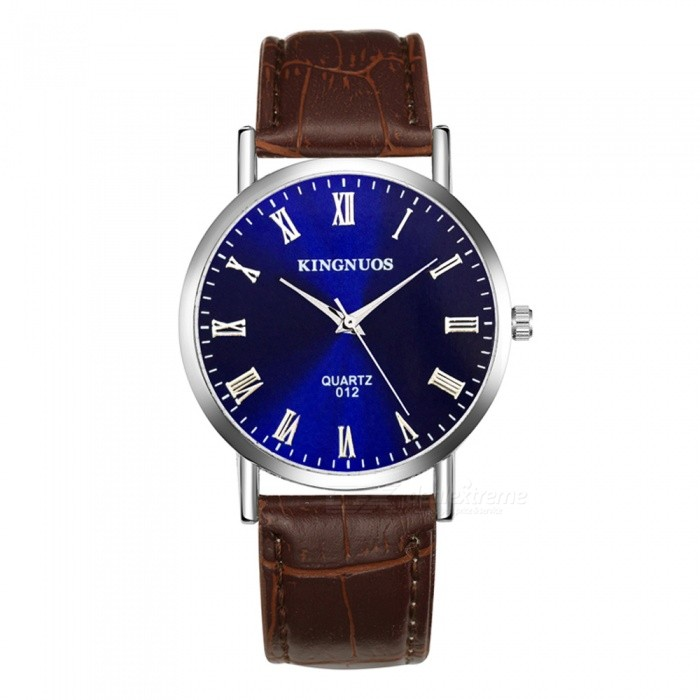 KINGNUOS Roman Numerals Mens Quartz Watch with PU Leather Strap - Brown + BlueQuartz Watches<br>Form  ColorBrown + BlueQuantity1 pieceShade Of ColorBrownCasing MaterialZinc alloyWristband MaterialPUSuitable forAdultsGenderMenStyleWrist WatchTypeFashion watchesDisplayAnalogBacklightNoMovementQuartzDisplay Format12 hour formatWater ResistantWater Resistant 3 ATM or 30 m. Suitable for everyday use. Splash/rain resistant. Not suitable for showering, bathing, swimming, snorkelling, water related work and fishing.Dial Diameter3.8 cmDial Thickness0.7 cmWristband Length23 cmBand Width2 cmBattery1 * SR626Packing List1 x Quartz Watch<br>