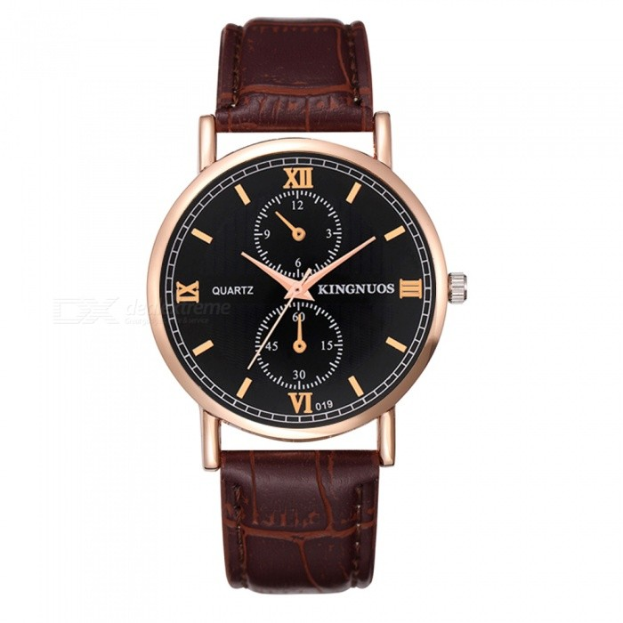 KINGNUOS Mens Business Quartz Watch with PU Leather Strap - Brown + Golden + BlackQuartz Watches<br>Form  ColorBrown + Golden + BlackQuantity1 pieceShade Of ColorBrownCasing MaterialZinc alloyWristband MaterialPUSuitable forAdultsGenderMenStyleWrist WatchTypeFashion watchesDisplayAnalogBacklightNoMovementQuartzDisplay Format12 hour formatWater ResistantWater Resistant 3 ATM or 30 m. Suitable for everyday use. Splash/rain resistant. Not suitable for showering, bathing, swimming, snorkelling, water related work and fishing.Dial Diameter3.8 cmDial Thickness0.7 cmWristband Length23 cmBand Width2 cmBattery1 * SR626Packing List1 x Quartz Watch<br>