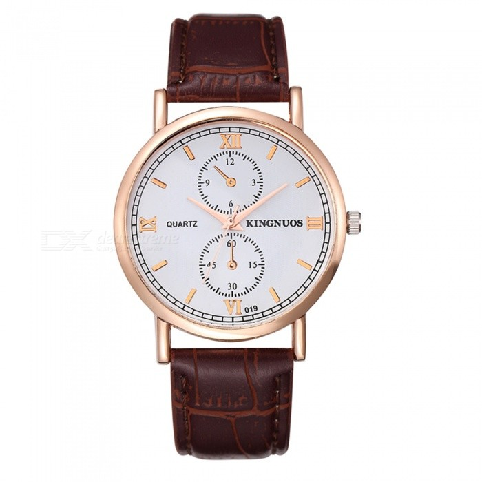 KINGNUOS Mens Business Quartz Watch with PU Leather Strap - Brown + Golden + WhiteQuartz Watches<br>Form  ColorBrown + Golden + WhiteQuantity1 pieceShade Of ColorBrownCasing MaterialZinc alloyWristband MaterialPUSuitable forAdultsGenderMenStyleWrist WatchTypeFashion watchesDisplayAnalogBacklightNoMovementQuartzDisplay Format12 hour formatWater ResistantWater Resistant 3 ATM or 30 m. Suitable for everyday use. Splash/rain resistant. Not suitable for showering, bathing, swimming, snorkelling, water related work and fishing.Dial Diameter3.8 cmDial Thickness0.7 cmWristband Length23 cmBand Width2 cmBattery1 * SR626Packing List1 x Quartz Watch<br>