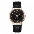 KINGNUOS Men's Business Quartz Watch with PU Leather Strap - Black + Golden