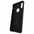 Mini Smile Protective Wire Drawing Carbon Fiber + TPU Back Case Anti-Slip Cover for IPHONE X - Black