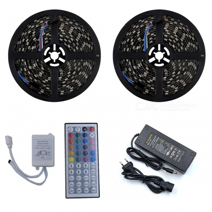 ZHAOYAO Waterproof 144W DC 12V 10m 5050SMD 600-LED RGB Blackboard LED Strip with EU Plug Power Adapter + 44-Key Remote Control5050 SMD Strips<br>Form  ColorBlack (EU Plug)Color BINRGBModel5050-600L-RGBMaterialCircuit boardQuantity1 setPowerOthers,144WRated VoltageDC 12 VEmitter Type5050 SMD LEDTotal Emitters600WavelengthRed: 630-655nm, blue: 435-460nm, green: 520-540nmActual Lumens20-12000 lumensPower AdapterEU PlugPacking List2 x 5m LED strips1 x 10A EU Plug power supply1 x 44-key remote control<br>