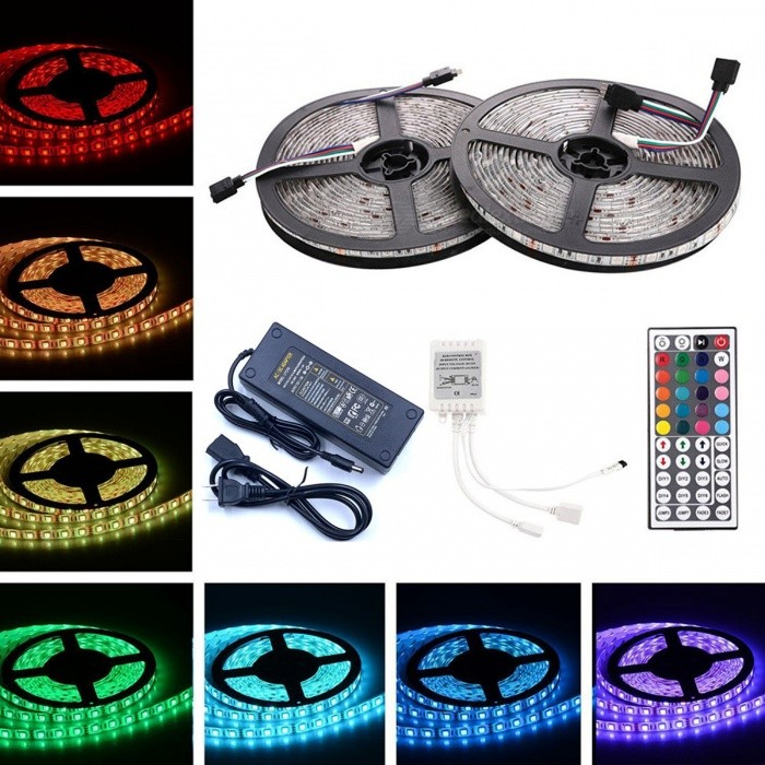 ZHAOYAO Waterproof 144W DC 12V 10m 5050SMD 600-LED RGB LED Strip with 10A US Plug Power Supply + 44-Key Remote Control5050 SMD Strips<br>Form  ColorWhite (US Plug)Color BINRGBModel5050-600L-USMaterialCircuit boardQuantity1 DX.PCM.Model.AttributeModel.UnitPowerOthers,144WRated VoltageDC 12 DX.PCM.Model.AttributeModel.UnitEmitter Type5050 SMD LEDTotal Emitters600WavelengthRed: 630-655nm, blue: 435-460nm, green: 520-540nmActual Lumens20-12000 lumens DX.PCM.Model.AttributeModel.UnitPower AdapterUS PlugPacking List2 x 5m LED strips1 x 10A US Plug power supply1 x 44-key remote control<br>