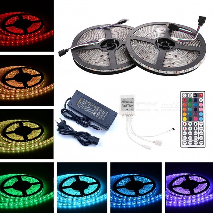 ZHAOYAO Waterproof 144W DC 12V 10m 5050SMD 600-LED RGB LED Strip with 10A EU Plug Power Supply + 44-Key Remote Control5050 SMD Strips<br>Form  ColorWhite (EU Plug)Color BINRGBModel5050-600L-EUMaterialCircuit boardQuantity1 setPowerOthers,144WRated VoltageDC 12 VEmitter Type5050 SMD LEDTotal Emitters600WavelengthRed: 630-655nm, blue: 435-460nm, green: 520-540nmActual Lumens20-12000 lumens lumensPower AdapterEU PlugPacking List2 x 5m LED strips1 x 10A EU Plug power supply1 x 44-key remote control<br>