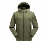 Outdoor Waterproof Breathable Fleece Sports Climbing Clothes Jacket for Men - Army Green (L)