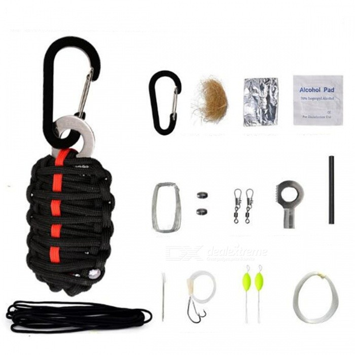 12-in-1 Multifunctional Survival First Aid Tool Kit  for Outdoor Camping - Black + Red