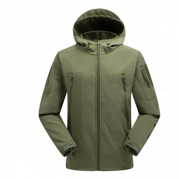 Outdoor Waterproof Breathable Fleece Sports Climbing Clothes Jacket for Men - Army Green (XXL)