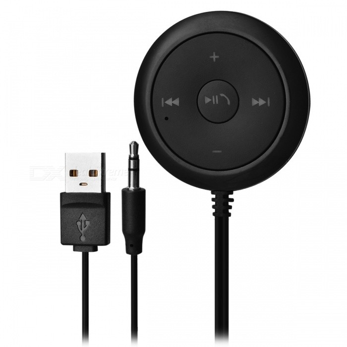 Bluetooth Car Music Receiver Kit MP3 Player, 3.5mm AUX Audio Adapter, A2DP Magnetic Base - Black