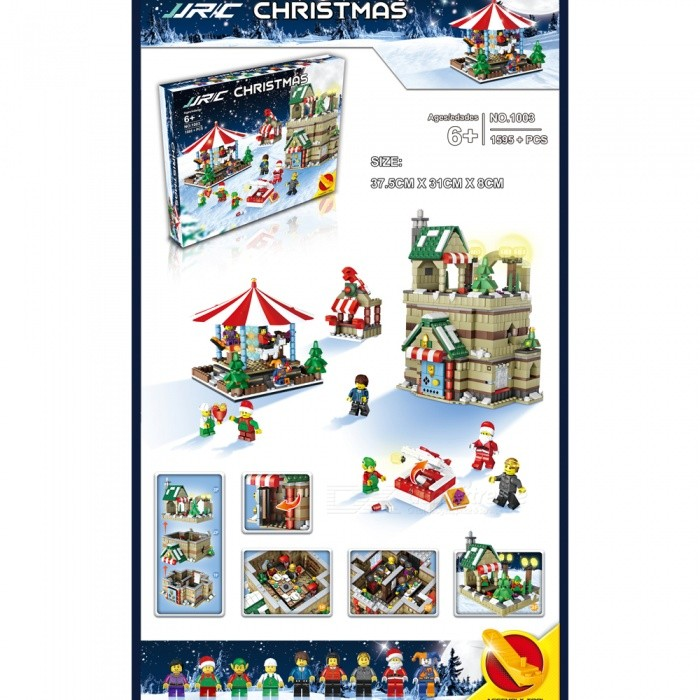 JJRC 1003 1595Pcs Christmas Merry-Go-Round Building Blocks Educational Gift for ChildrenBlocks &amp; Jigsaw Toys<br>Form  ColorPattern 3 (1595Pcs)Model1003MaterialABSQuantity1 DX.PCM.Model.AttributeModel.UnitShade Of ColorMulti-colorGyroscopeNoChannels QuanlityOthers,NO DX.PCM.Model.AttributeModel.UnitFunctionOthers,NORemote TypeOthers,NORemote control frequencyOthers,NORemote Control Range0 DX.PCM.Model.AttributeModel.UnitSuitable Age 6-9 months,9-12 months,13-24 months,8-11 years,12-15 years,Grown upsCameraNoCamera PixelNoLamp NoBattery TypeOthers,NOBattery CapacityN0 DX.PCM.Model.AttributeModel.UnitCharging TimeN0 DX.PCM.Model.AttributeModel.UnitWorking TimeN0 DX.PCM.Model.AttributeModel.UnitRemote Controller Battery TypeOthers,N0Remote Controller Battery NumberN0Remote Control TypeOthers,N0ModelOthers,N0CertificationCEPacking List1 Set x Building block<br>