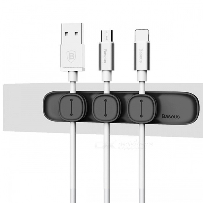 Baseus Durable Magnetic Cable Clip USB Cable Organizer Clamp Desktop Workstation Wire Cord Management Cable Winder - BlackOther Interior<br>Form  ColorBaseus - BlackModelPeas Cable Clip SimpleQuantity1 DX.PCM.Model.AttributeModel.UnitMaterialABS+TPUPacking List1 x Magnetic Cable Clip<br>
