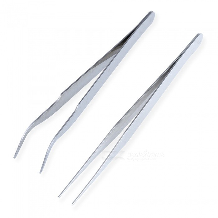 AS-74 2Pcs Pointed + Elbow Stainless Steel Tweezers