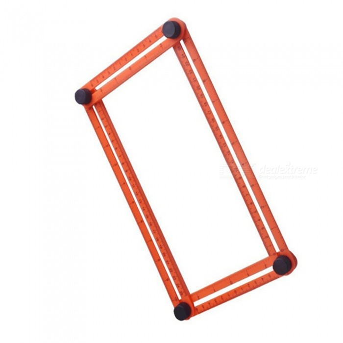 "Multifuction Foldable Movable Activities Metric Inch Scale Measuring Angle Ruler - Red (25CM / 9.8"")"