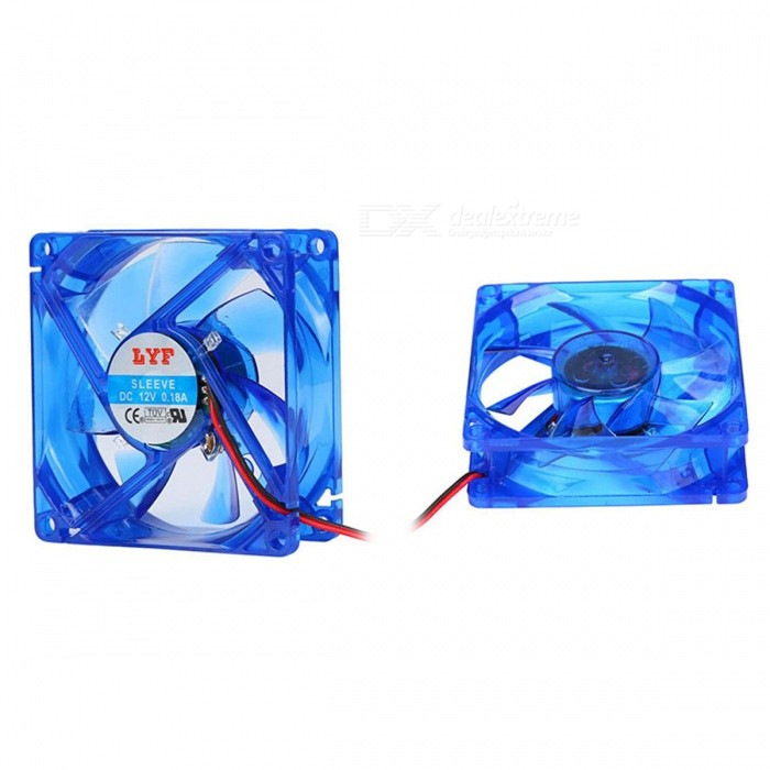 ZHAOYAO DC 12V Leading Wires Case Cooling Fans for PC Case - Blue (2 PCS)