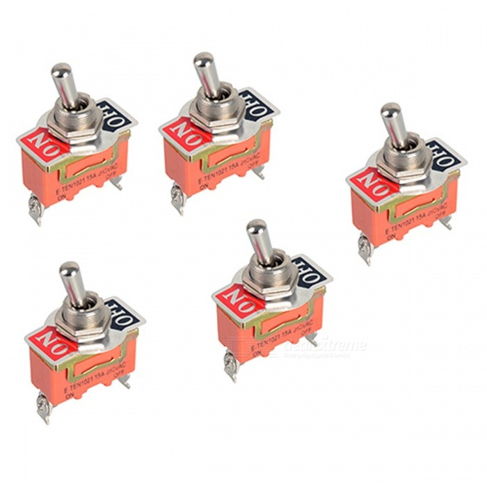 SPST 15A 250V On-Off Miniature Toggle Switches (5 PCS) E-TEN1021Gadgets<br>Form  ColorOrangeQuantity1 DX.PCM.Model.AttributeModel.UnitMaterialPlastic + metalRate Voltage250VCurrent15 DX.PCM.Model.AttributeModel.UnitEnglish Manual / SpecNoPacking List5 x Switches<br>