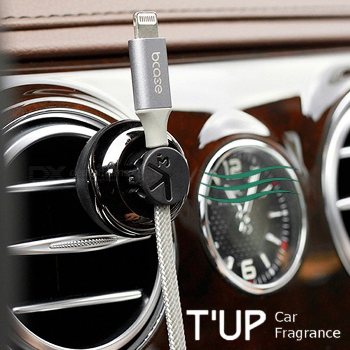 Bcase 2-in-1 TUP Car Air Vent Ocean Fragrance, Magnetic Cable Organizer Clip - Jet Black
