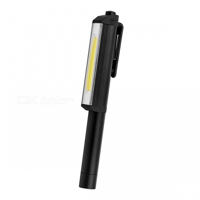 3W COB LED Pen Shaped Work Light with Rotating Magnetic Clip - BlackAAA Flashlights<br>Form  ColorBlackQuantity1 DX.PCM.Model.AttributeModel.UnitMaterialAluminum alloyOther FeaturesOthers,HandyBrandOthers,N/ALED TypeOthers,COBEmitter BINothers,-Color BINNeutral WhiteNumber of Emitters1Working Voltage   3-4.2 DX.PCM.Model.AttributeModel.UnitPower Supply3 * AAA Batteries (Not Included)Current- DX.PCM.Model.AttributeModel.UnitActual Lumens200 DX.PCM.Model.AttributeModel.UnitRuntime7 DX.PCM.Model.AttributeModel.UnitNumber of Modes1Mode ArrangementOthers,(ON/OFF)Mode MemoryNoSwitch TypeForward clickySwitch LocationHeadLensPlasticReflectorAluminum SmoothBeam Range50 DX.PCM.Model.AttributeModel.UnitStrap/ClipNoOutput(lumens)201-500Runtime(hours)3.1-4Packing List1 x COB LED Flashlight<br>