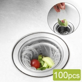 Sink Drain Hole Trash Strainer, Mesh Disposable Garbage Bag, Bathroom Kitchen Waste Bin Filter (100 PCS)