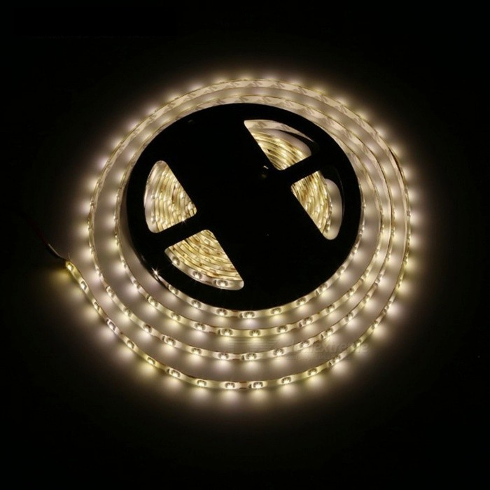 ZHAOYAO IP65 Waterproof 70W Warm White 3528 SMD 600-LED Strip Light with 5A EU Power Charger + DC Adapter - 5M