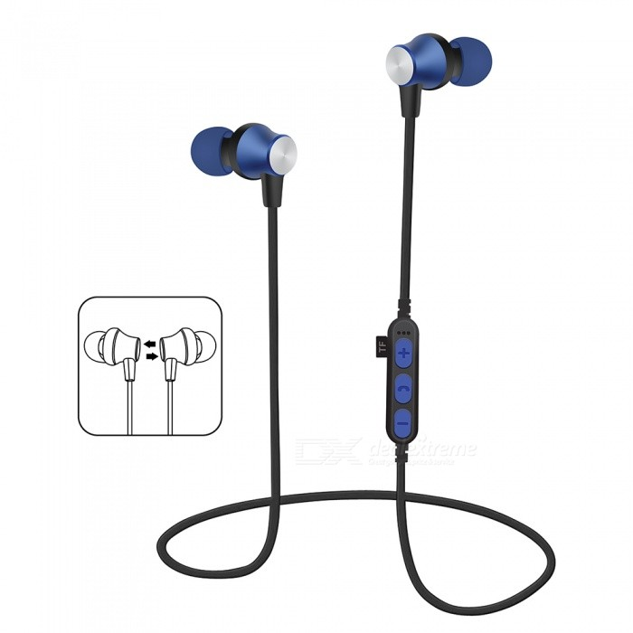 Bluetooth V4.2 Headphones In-Ear Wireless Earbuds Magnetic Sweatproof Stereo Earphones with Microphone for Sport - BlueHeadphones<br>Form  ColorBlue + Black + Multi-ColoredBrandOthers,VigrosModelBTMaterialMetal + ABSQuantity1 DX.PCM.Model.AttributeModel.UnitConnectionBluetooth,Others,TF CardBluetooth VersionBluetooth V4.2Operating Range10mConnects Two Phones SimultaneouslyNoCable Length60 DX.PCM.Model.AttributeModel.UnitLeft &amp; Right Cables TypeEqual LengthHeadphone StyleUnilateral,Headband,Earbud,In-Ear,Neckband,Ear-hookWaterproof LevelIPX4Applicable ProductsUniversalHeadphone FeaturesHiFi,English Voice Prompts,Phone Control,Long Time Standby,Magnetic Adsorption,Noise-Canceling,Volume Control,With Microphone,Lightweight,Portable,Game Headset,For Sports &amp; ExerciseRadio TunerNoSupport Memory CardYesMemory Card SlotStandard TF CardSupport Apt-XNoChannels2.0Sensitivity95dBFrequency Response20-20KHzImpedance16 DX.PCM.Model.AttributeModel.UnitBattery TypeLi-ion batteryBuilt-in Battery Capacity 80 DX.PCM.Model.AttributeModel.UnitStandby Time100 DX.PCM.Model.AttributeModel.UnitTalk Time4-6 DX.PCM.Model.AttributeModel.UnitMusic Play Time6-8 DX.PCM.Model.AttributeModel.UnitPower AdapterUSBPower Supply5VPacking List1 x Bluetooth Earphones1 x Charging Cable<br>