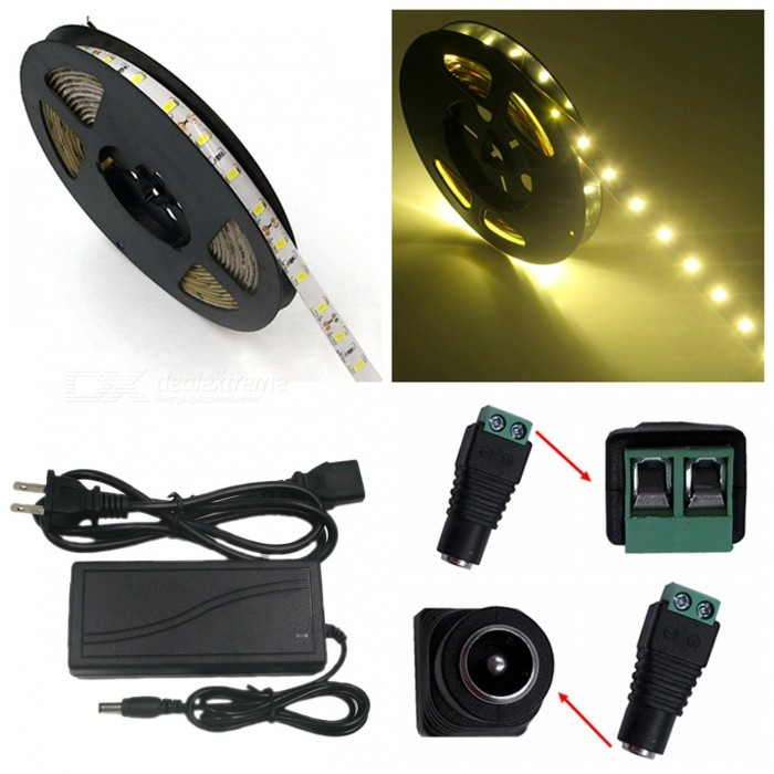 ZHAOYAO IP65 Waterproof 72W Warm White 5630 SMD 300-LED Strip Light with 5A US Power Charger + DC Adapter - 5M