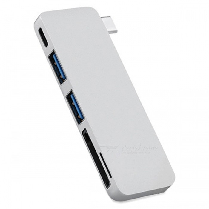 Cwxuan USB 3.1 Type-C to USB Hub, TF SD Card Reader w/ Charging Port - SilverLaptop/Tablet Cable&amp;Adapters<br>Form  ColorSilverQuantity1 setShade Of ColorSilverMaterialAluminum alloyInterfaceOthers,USB 3.1 Type-C USB-C Multiple 2 Ports 3.0 Hub &amp; TF SD Card ReaderPacking List1 x USB-C 3.1 Type-C Combo Hub<br>