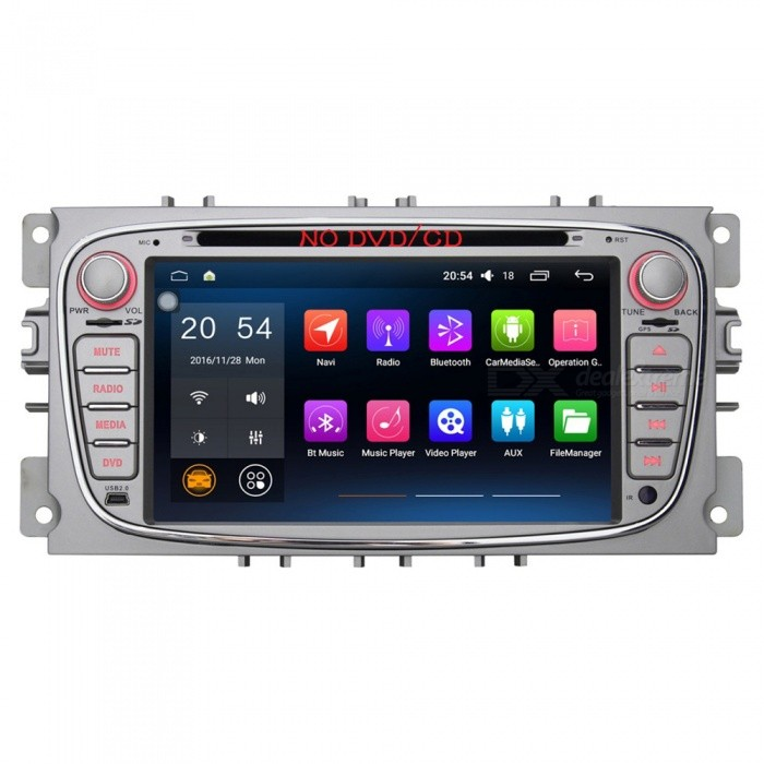 Joyous J-8818N6.0 7 HD 1024 * 600 Android 6.0 Ford Focus Car Radio Player, No DVD - SilverCar DVD Players<br>Form  ColorSilverModelJ-8818N6.0Quantity1 DX.PCM.Model.AttributeModel.UnitMaterialPCB + Electrolysis plate + plasticStyle2 Din In-DashFunctionOthers,Wifi/4G,OBD2,DVR,MIRROR LINKCompatible MakeOthers,ford focusCompatible Car ModelFord Focus / Ford Mondeo / Ford Tourneo Connect / Ford Transit ConnectCompatible YearOthers,2007 ~ 2010Screen SizeOthers,7.0 inchesScreen Resolution1024*600Touch Screen TypeYesDetachable PanelNoBrightness ControlYesMenu LanguageOthers,English , Greek , Danish , Norwegian , Dutch , Arabic , Turkish , Japanese , Bahasa Indonesia , Korean , Thai , French , Maltese , Hungarian , Latin , Persian , Malay , Slovak , Czech , Greek , Romanian , Swedish , German , Finnish , Chinese Simplified , Chinese Traditional , Bulgarian , Norwegian , Hebrew , Italian , Spanish , Portuguese , Russian , Vietnamese , PolishCPU ProcessorIntel ATOM 1.2GH(X4) Quad-CoreSupport MapIGO,TOMTOM,Garmin,Sygic,CarelandMain FrequencyOthers,1.2 DX.PCM.Model.AttributeModel.UnitStore CapacityOthers,1 DX.PCM.Model.AttributeModel.UnitMemory Card SlotStandard TF CardVoice Guidance CruiseYesGPS Dual ZoneYesOperating SystemOthers,Android 6.0.1Audio FormatsMP3,WMA,APE,FLAC,OGG,AC3,DTS,AACVideo FormatsOthers,RM , PMP , AVC , FLV , VOB , MPG , DAT , MPEG , H.264 , MPEG1 , MPEG2 , RMVB , MPEG4 , WMV , TP , AVI , DIVX , MKV , MOV , HDMOV , MP4 , M4VPicture FormatsJPEG,BMP,PNG,GIF,TIFF,jps(3D),mpo(3D)Support RDSfor European countriesRadio TunerAM,FMRadio Response BandwidthAM: 520KHz-1700KHz,FM: 87MHz-110MHzStation Preset Qty.30 StationsRDSYesBuilt-in MicrophoneYesBluetooth FunctionReceived Call,Dialled CallBluetooth VersionOthers,Bluetooth V5.1Amplifier Peak Power4 x 45 DX.PCM.Model.AttributeModel.UnitAudio ModeNatural,Rock,Jazz,Classical,Live,Dancing,PopularInterface PortUSB,TFAudio Input1 channelAudio  Output2 ChannelsRearview Camera InputYesExternal Memory Max. Support32 DX.PCM.Model.AttributeModel.UnitVideo Input1 channelVideo OutputOthers,NOWorking Voltage   12 DX.PCM.Model.AttributeModel.UnitWorking Temperature-20 ~ +70 DX.PCM.Model.AttributeModel.UnitStorage Temperature-30 ~ +80Other Featuresbuilt-in wifiPacking List1 x Car radio           1 x Canbus decoding box                                                                                                                              1 x Ford Focus Power Cable                                                                                                             1 x GPS antenna (300cm)                                                                                                                    1 x USB cable (31cm)                                                                                                                                                       1 x External MIC (150cm)                                                                                                                          1 x English manual<br>