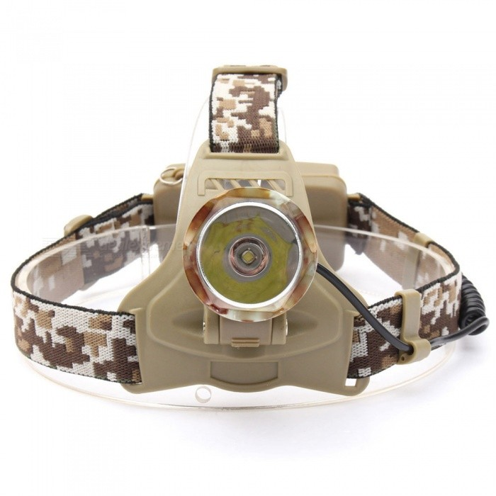 ZHAOYAO Camouflage T6 Headlight Outdoor Super Bright LED Headlamp for Riding / Camping / Fishing / HuntingHeadlamps<br>Form  ColorACUQuantity1 piecesMaterialAluminium alloyEmitter BrandCreeLED TypeXM-L2Emitter BINT6Color BINWhiteNumber of Emitters1Working Voltage   3.7 VPower Supply2*18650Current4.2 ATheoretical Lumens1200 lumensActual Lumens1200 lumensRuntime2-4 hourNumber of Modes3Mode ArrangementOthers,High / Low / FlashMode MemoryNoSwitch TypeForward clickySwitch LocationHeadLensGlassReflectorAluminum SmoothBand Length50 cmCompatible CircumferencecurrencyBeam Range100-300 cmPacking List1 x Headlamp1 x Charging Cable<br>