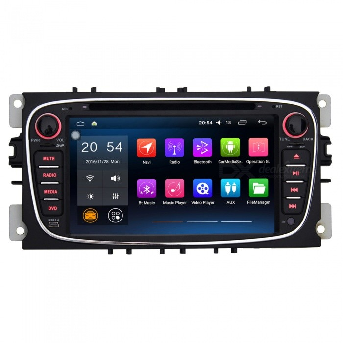 Joyous J-8828N6.0 7  HD Android 6.0 DVD Player with GPS Navigation, Radio, RDS - BlackCar DVD Players<br>Form  ColorBlackModelJ-8828N6.0Quantity1 DX.PCM.Model.AttributeModel.UnitMaterialPCB + Electrolysis plate + plasticStyle2 Din In-DashFunctionOthers,Wifi/4G,OBD2,DVR,MIRROR LINKCompatible MakeOthers,ford focusCompatible Car ModelFord Focus / Ford Mondeo / Ford Tourneo Connect / Ford Transit ConnectCompatible YearOthers,2007 ~ 2010Screen SizeOthers,7.0 inchesScreen Resolution1024*600Touch Screen TypeYesDetachable PanelNoBrightness ControlYesMenu LanguageOthers,English , Greek , Danish , Norwegian , Dutch , Arabic , Turkish , Japanese , Bahasa Indonesia , Korean , Thai , French , Maltese , Hungarian , Latin , Persian , Malay , Slovak , Czech , Greek , Romanian , Swedish , German , Finnish , Chinese Simplified , Chinese Traditional , Bulgarian , Norwegian , Hebrew , Italian , Spanish , Portuguese , Russian , Vietnamese , PolishCPU ProcessorIntel ATOM 1.2GH(X4) Quad-CoreSupport MapIGO,TOMTOM,Garmin,Sygic,CarelandMain FrequencyOthers,1.2 DX.PCM.Model.AttributeModel.UnitStore CapacityOthers,1 DX.PCM.Model.AttributeModel.UnitMemory Card SlotStandard TF CardVoice Guidance CruiseYesGPS Dual ZoneYesOperating SystemOthers,Android 6.0.1Audio FormatsMP3,WMA,APE,FLAC,OGG,AC3,DTS,AACVideo FormatsOthers,RM , PMP , AVC , FLV , VOB , MPG , DAT , MPEG , H.264 , MPEG1 , MPEG2 , RMVB , MPEG4 , WMV , TP , AVI , DIVX , MKV , MOV , HDMOV , MP4 , M4VPicture FormatsJPEG,BMP,PNG,GIF,TIFF,mpo(3D)Support RDSfor European countriesRadio TunerAM,FMRadio Response BandwidthAM: 520KHz-1700KHz,FM: 87MHz-110MHzStation Preset Qty.30 StationsRDSYesBuilt-in MicrophoneYesBluetooth FunctionReceived Call,Dialled CallBluetooth VersionOthers,Bluetooth V5.1Amplifier Peak Power4 x 45 DX.PCM.Model.AttributeModel.UnitAudio ModeNatural,Rock,Jazz,Classical,Live,Dancing,PopularInterface PortUSB, TFAudio Input1 channelAudio  Output2 ChannelsRearview Camera InputYesExternal Memory Max. Support32 DX.PCM.Model.AttributeModel.UnitVideo Input1 channelVideo OutputOthers,NOWorking Voltage   12 DX.PCM.Model.AttributeModel.UnitWorking Temperature-20 ~ +70 DX.PCM.Model.AttributeModel.UnitStorage Temperature-30 ~ +80Other Featuresbuilt-in Wi-FiPacking List1 x Car radio             1 x Canbus decoding box                                                                                                                              1 x Ford Focus Power Cable                                                                                                             1 x GPS antenna (300cm)                                                                                                                    1 x USB cable (31cm)                                                                                                                                                       1 x External MIC (150cm)                                                                                                                          1 x English manual<br>