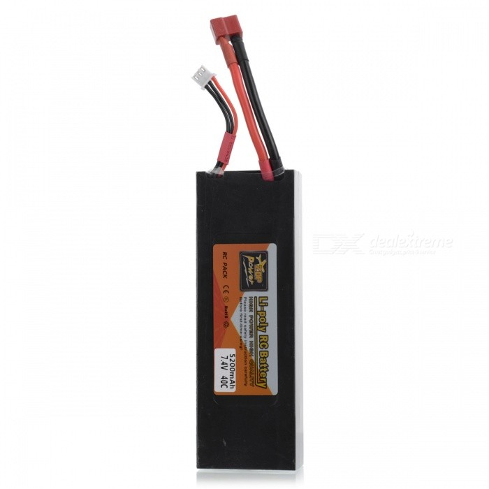 ENGPOW 7.4V 5200mAh 2S 25C Battery Pack with T Plug Connector for RC Boat, RC Drift Car, RC Racing Car