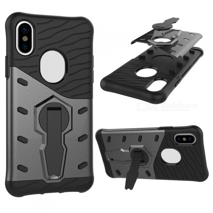 Mini Smile TPU + PC Back Case w/ Holder Stand for IPHONE X - BlackPlastic Cases<br>Form  ColorBlackModelIX-KJQuantity1 DX.PCM.Model.AttributeModel.UnitMaterialPC+TPUCompatible ModelsiPhone XDesignMixed ColorStyleBack CasesPacking List1 x Case<br>