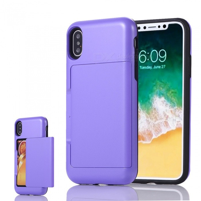 Mini Smile Premium PC + TPU Protective Case w/ Card Slot for IPHONE X - PurplePlastic Cases<br>Form  ColorPurpleModelIX-BHQuantity1 DX.PCM.Model.AttributeModel.UnitMaterialPC + TPUCompatible ModelsiPhone XDesignMixed Color,Card SlotStyleBack CasesPacking List1 x Case<br>