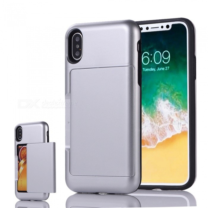 Mini Smile Premium PC + TPU Protective Case w/ Card Slot for IPHONE X - SilverPlastic Cases<br>Form  ColorSilverModelIX-BHQuantity1 DX.PCM.Model.AttributeModel.UnitMaterialPC + TPUCompatible ModelsiPhone XDesignMixed Color,Card SlotStyleBack CasesPacking List1 x Case<br>