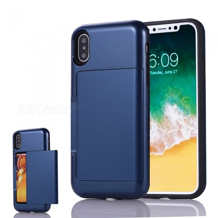Mini Smile Premium PC + TPU Protective Case w/ Card Slot for IPHONE X - NavyPlastic Cases<br>Form  ColorNavyModelIX-BHQuantity1 DX.PCM.Model.AttributeModel.UnitMaterialPC + TPUCompatible ModelsiPhone XDesignMixed Color,Card SlotStyleBack CasesPacking List1 x Case<br>